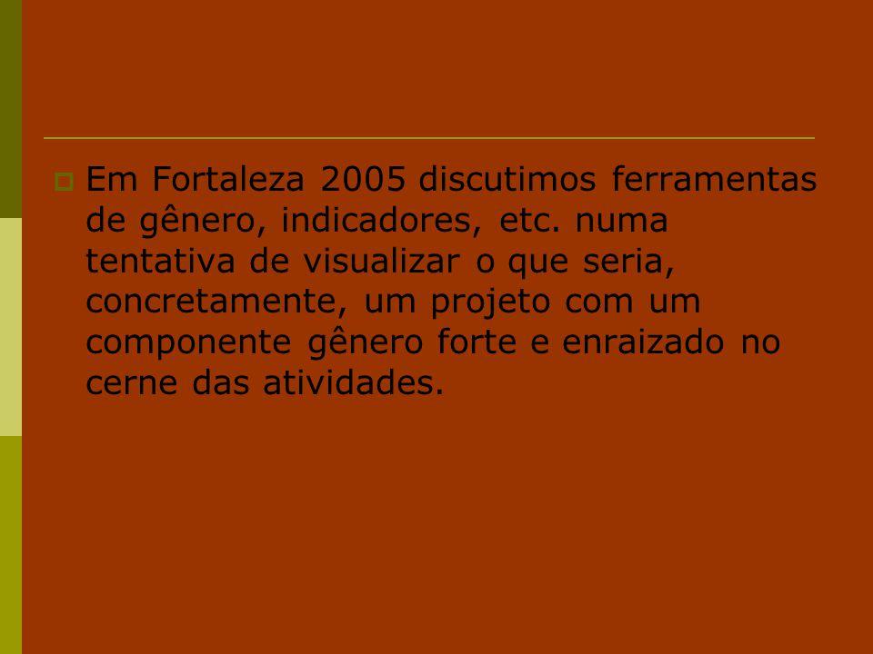 Em Fortaleza 2005 discutimos ferramentas de gênero, indicadores, etc