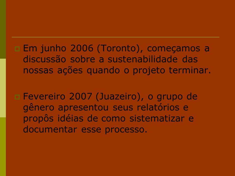 Em junho 2006 (Toronto), começamos a discussão sobre a sustenabilidade das nossas ações quando o projeto terminar.