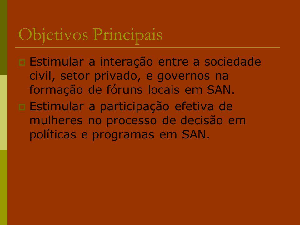 Objetivos Principais Estimular a interação entre a sociedade civil, setor privado, e governos na formação de fóruns locais em SAN.