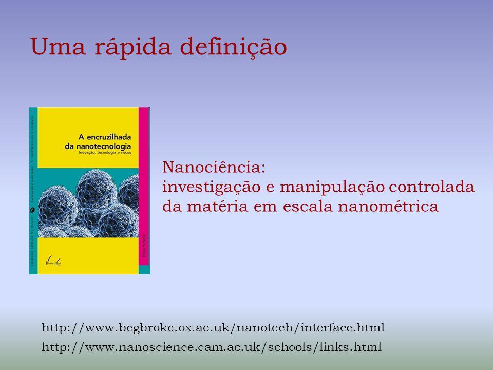 Uma rápida definição Nanociência: