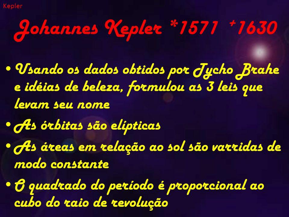 Kepler Johannes Kepler *1571 +1630. Usando os dados obtidos por Tycho Brahe e idéias de beleza, formulou as 3 leis que levam seu nome.