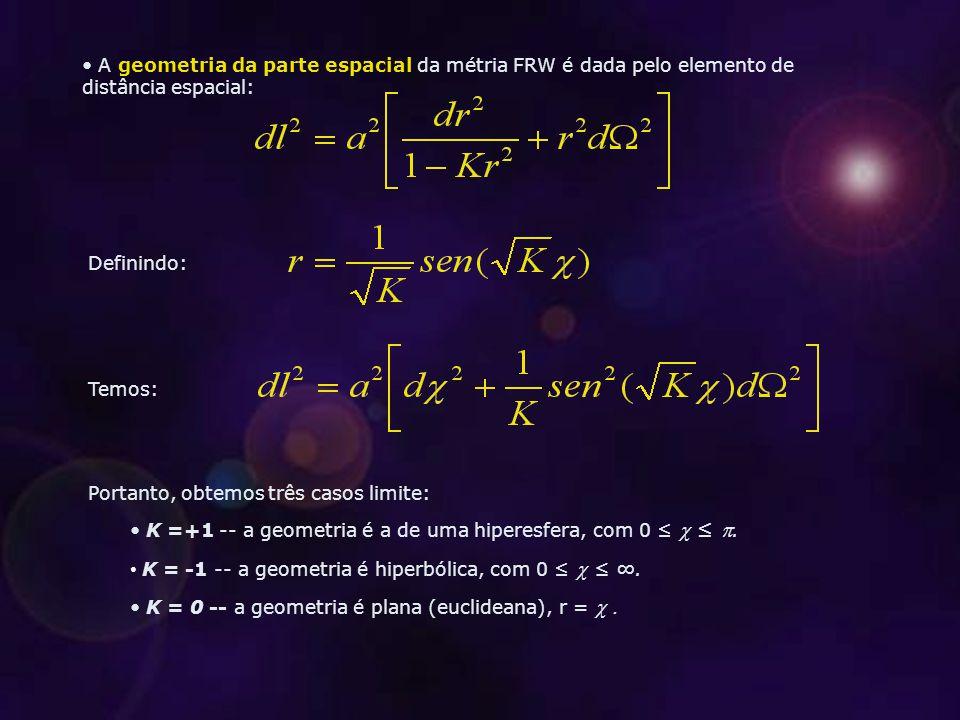 A geometria da parte espacial da métria FRW é dada pelo elemento de distância espacial: