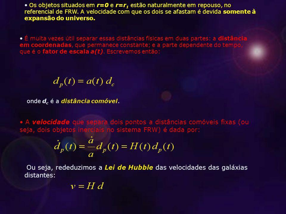 Os objetos situados em r=0 e r=r1 estão naturalmente em repouso, no referencial de FRW. A velocidade com que os dois se afastam é devida somente à expansão do universo.