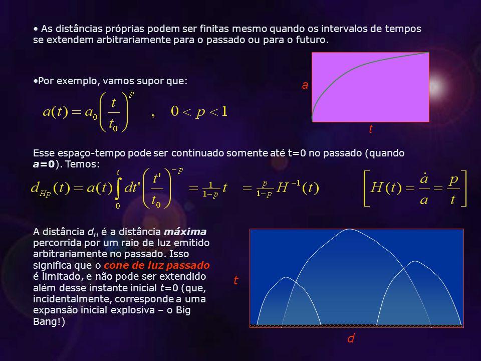As distâncias próprias podem ser finitas mesmo quando os intervalos de tempos se extendem arbitrariamente para o passado ou para o futuro.