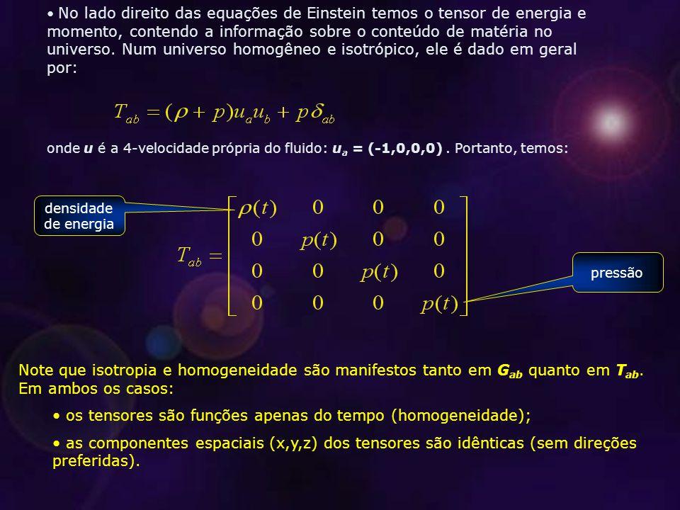 os tensores são funções apenas do tempo (homogeneidade);