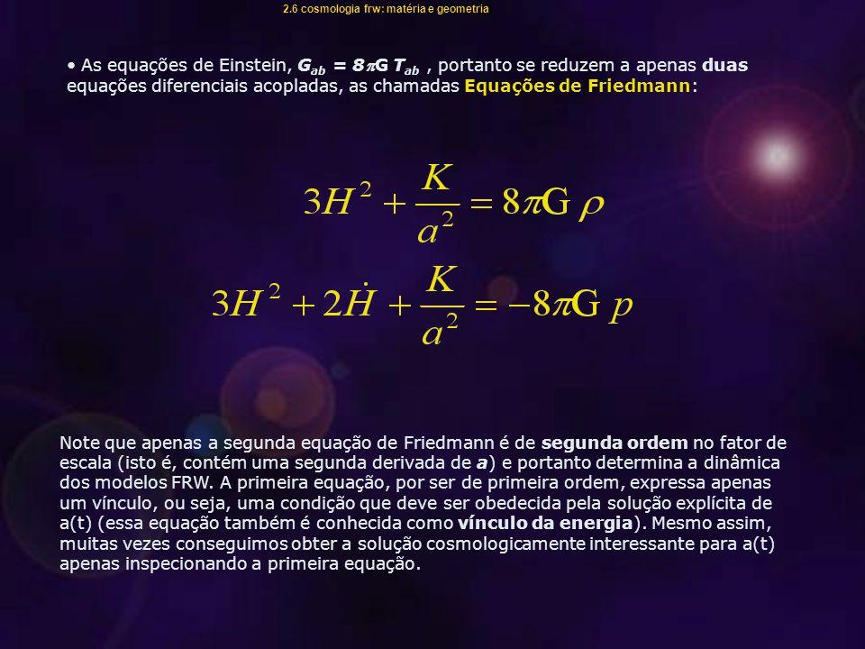 2.6 cosmologia frw: matéria e geometria