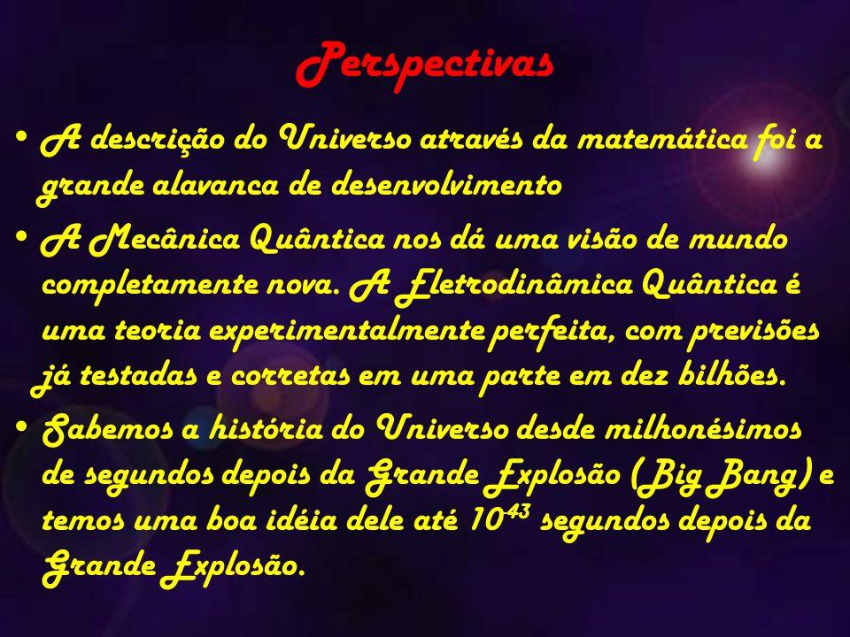 Perspectivas A descrição do Universo através da matemática foi a grande alavanca de desenvolvimento.