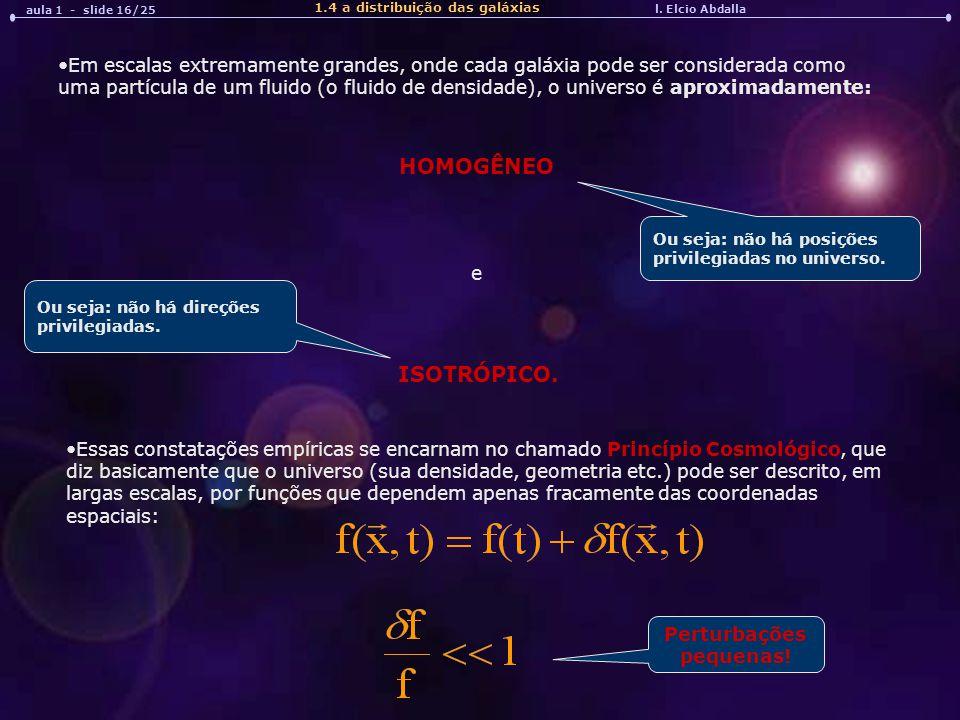 aula 1 - slide 16/25 1.4 a distribuição das galáxias. l. Elcio Abdalla.
