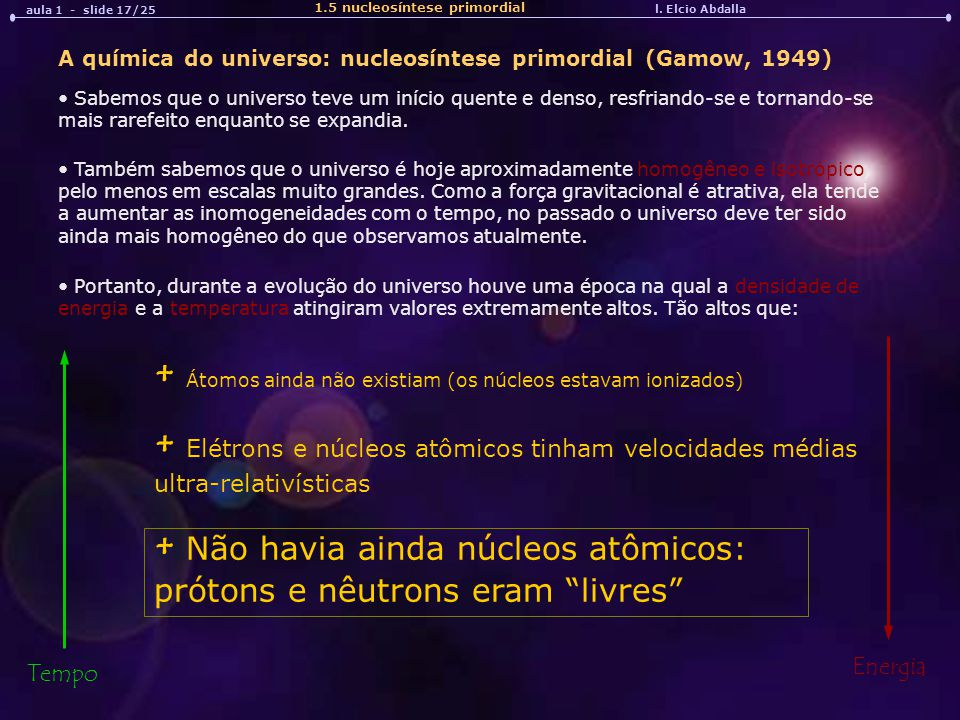 + Átomos ainda não existiam (os núcleos estavam ionizados)