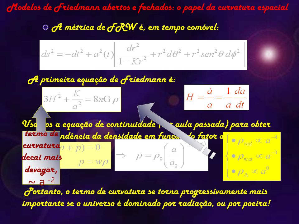 Modelos de Friedmann abertos e fechados: o papel da curvatura espacial