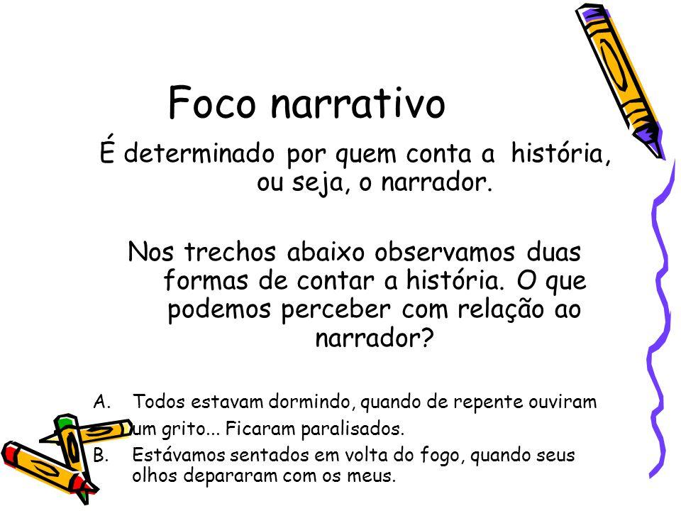 É determinado por quem conta a história, ou seja, o narrador.