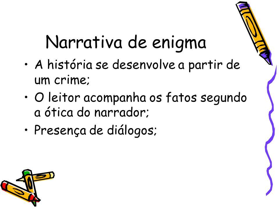Narrativa de enigma A história se desenvolve a partir de um crime;