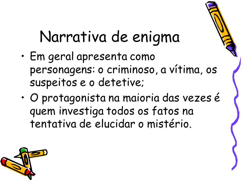 Narrativa de enigma Em geral apresenta como personagens: o criminoso, a vítima, os suspeitos e o detetive;