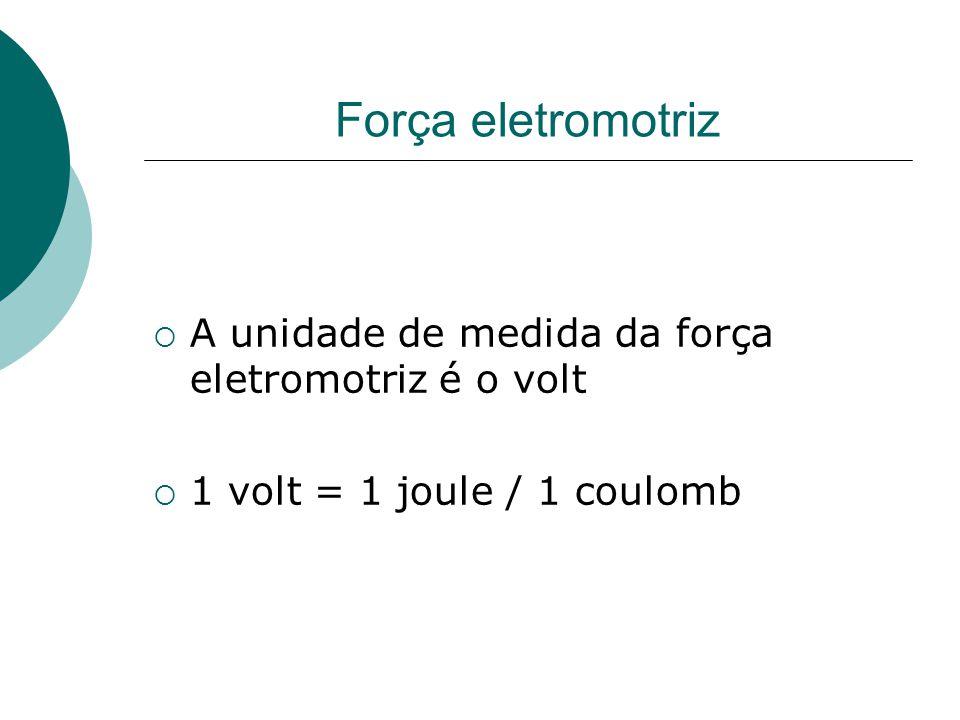 Força eletromotriz A unidade de medida da força eletromotriz é o volt