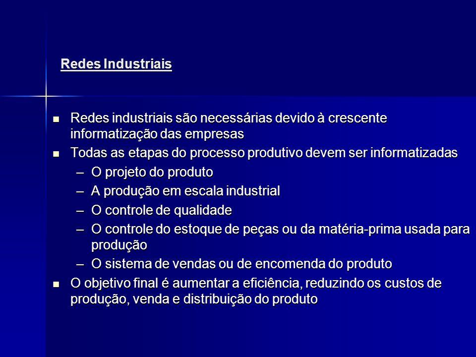 Redes Industriais Redes industriais são necessárias devido à crescente informatização das empresas.