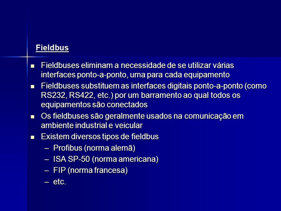 Fieldbus Fieldbuses eliminam a necessidade de se utilizar várias interfaces ponto-a-ponto, uma para cada equipamento.