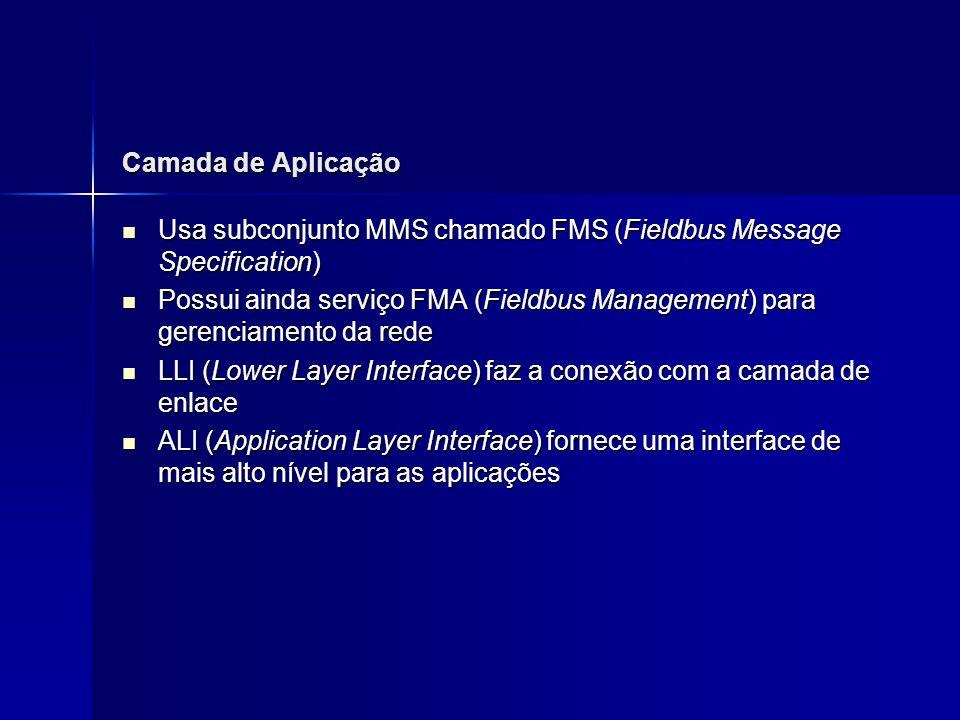 Camada de Aplicação Usa subconjunto MMS chamado FMS (Fieldbus Message Specification)