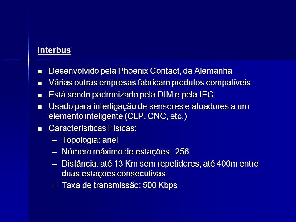 Interbus Desenvolvido pela Phoenix Contact, da Alemanha. Várias outras empresas fabricam produtos compatíveis.
