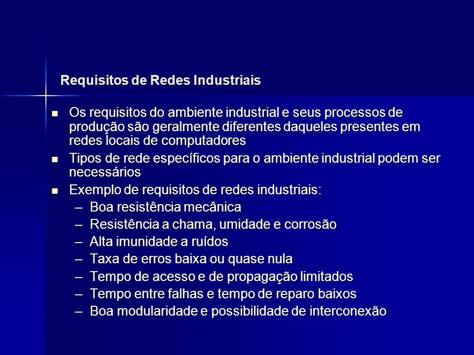 Requisitos de Redes Industriais