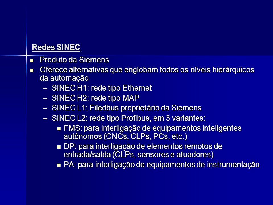 Redes SINEC Produto da Siemens. Oferece alternativas que englobam todos os níveis hierárquicos da automação.