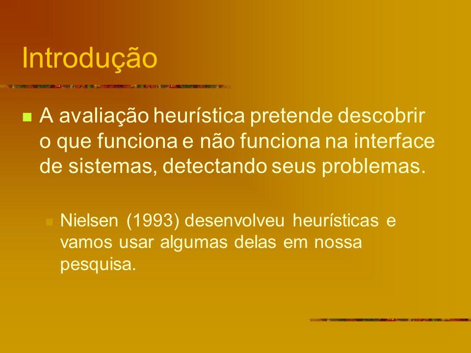 Introdução A avaliação heurística pretende descobrir o que funciona e não funciona na interface de sistemas, detectando seus problemas.