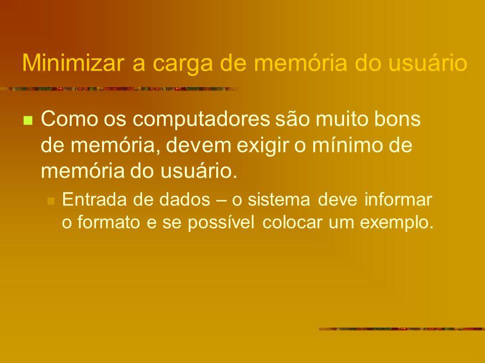 Minimizar a carga de memória do usuário