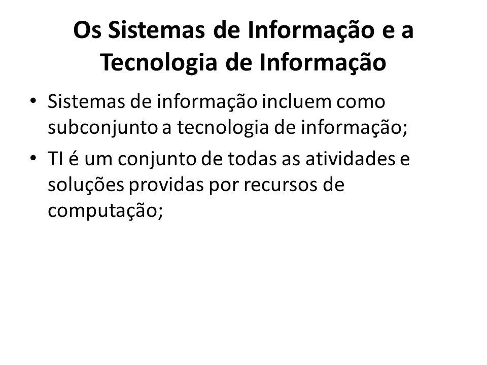 Os Sistemas de Informação e a Tecnologia de Informação