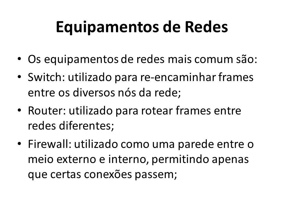 Equipamentos de Redes Os equipamentos de redes mais comum são: