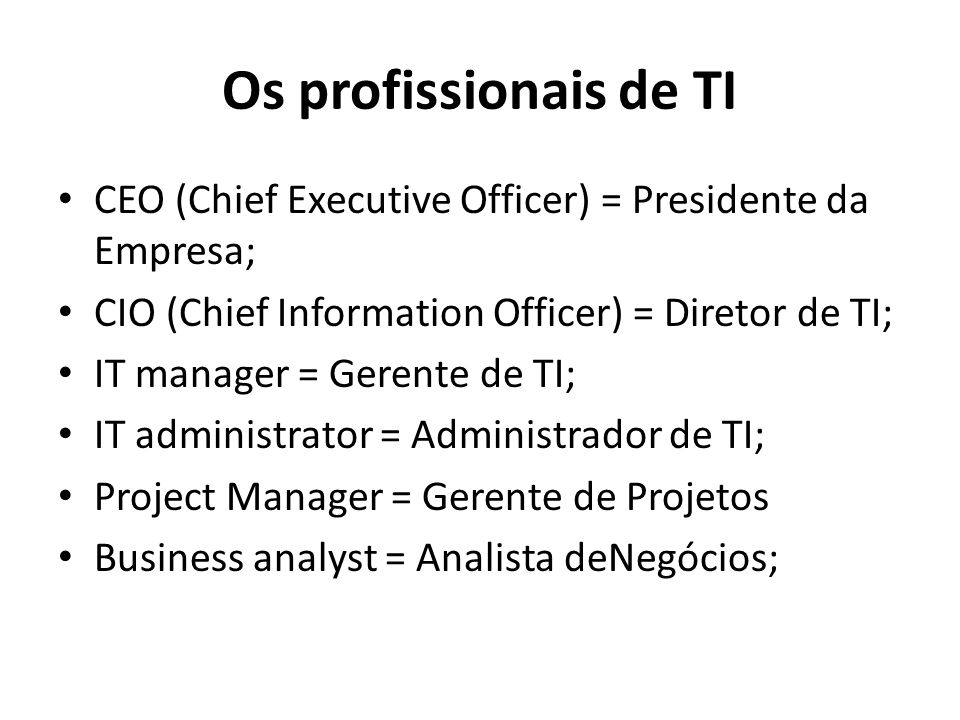 Os profissionais de TI CEO (Chief Executive Officer) = Presidente da Empresa; CIO (Chief Information Officer) = Diretor de TI;
