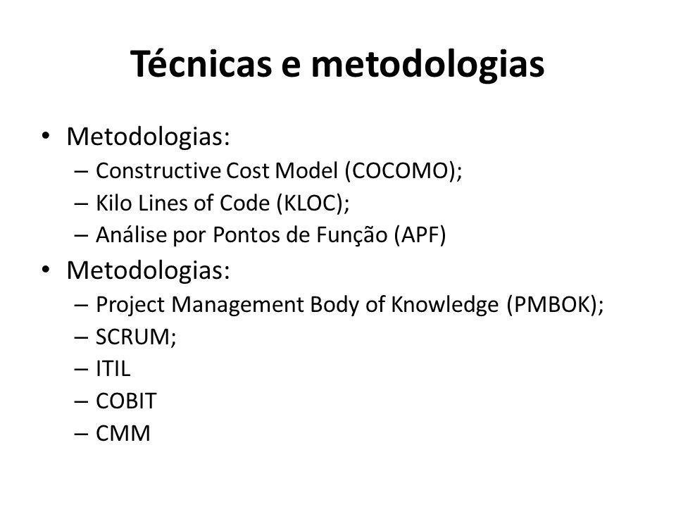 Técnicas e metodologias