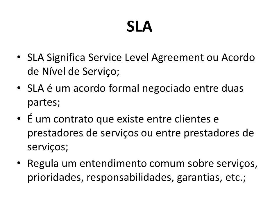 SLA SLA Significa Service Level Agreement ou Acordo de Nível de Serviço; SLA é um acordo formal negociado entre duas partes;