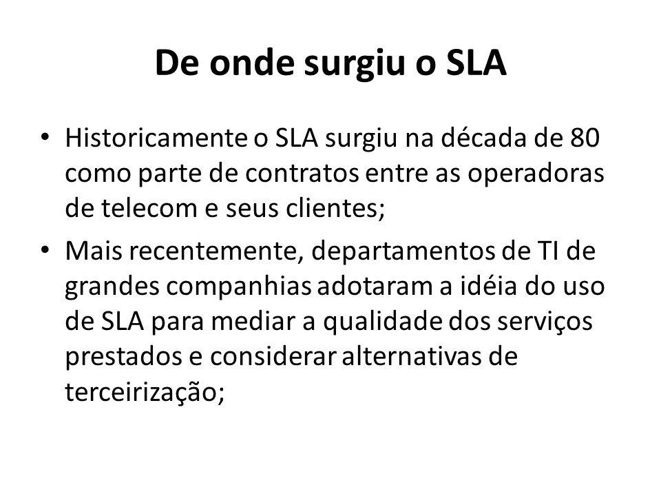 De onde surgiu o SLA Historicamente o SLA surgiu na década de 80 como parte de contratos entre as operadoras de telecom e seus clientes;
