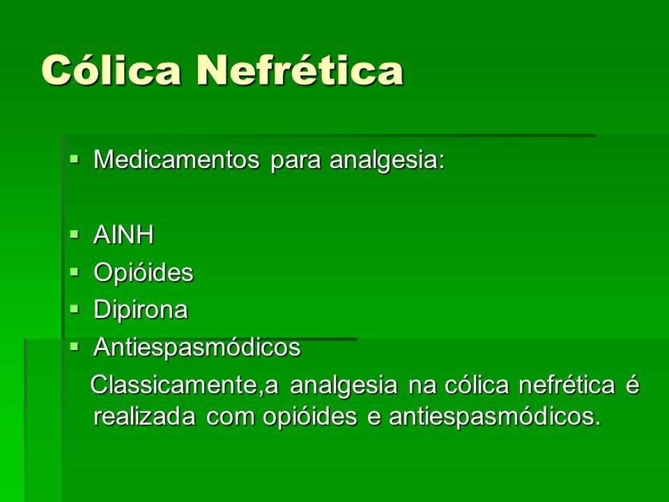 Cólica Nefrética Medicamentos para analgesia: AINH Opióides Dipirona