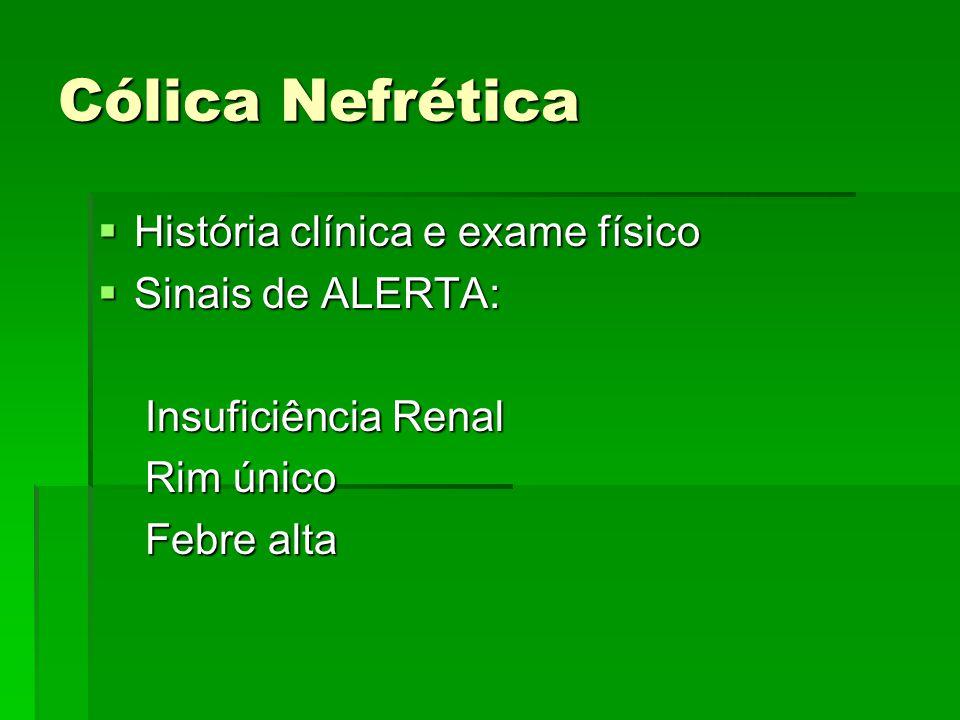 Cólica Nefrética História clínica e exame físico Sinais de ALERTA: