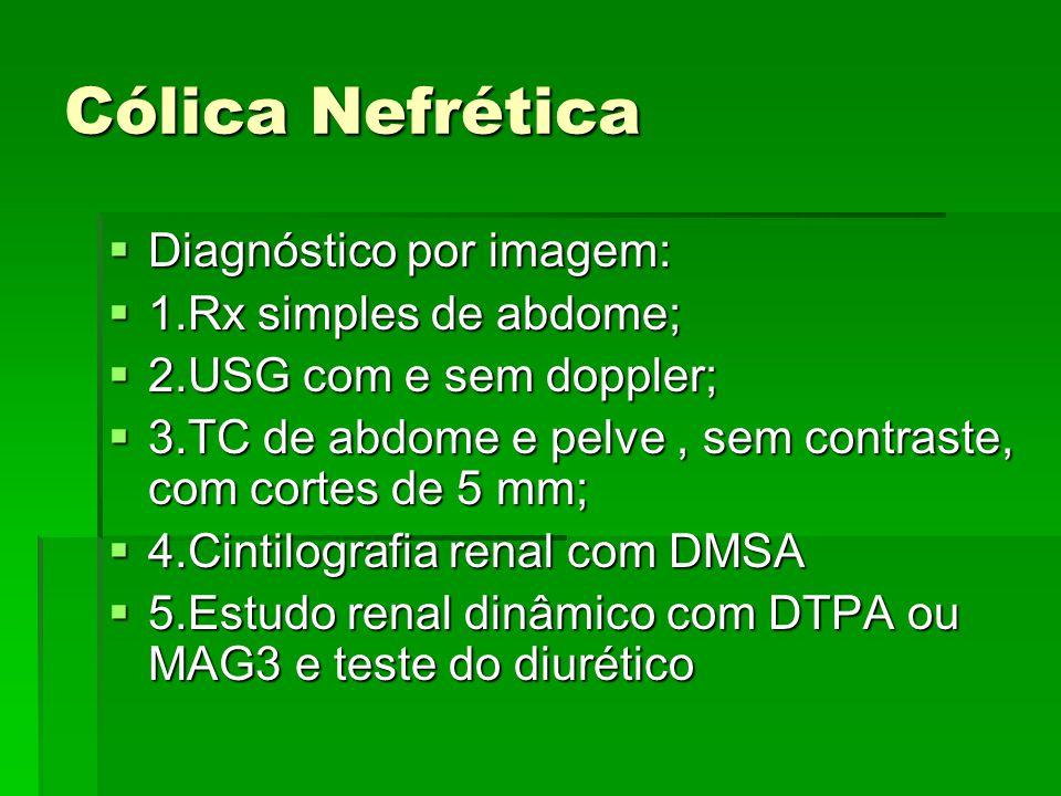 Cólica Nefrética Diagnóstico por imagem: 1.Rx simples de abdome;
