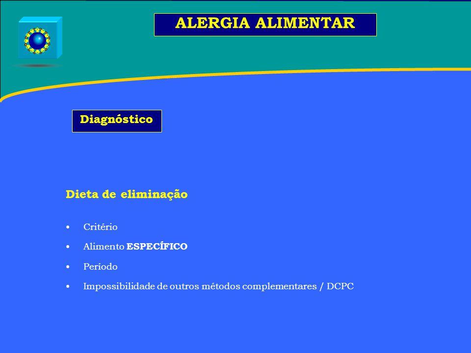 ALERGIA ALIMENTAR Diagnóstico Dieta de eliminação Critério