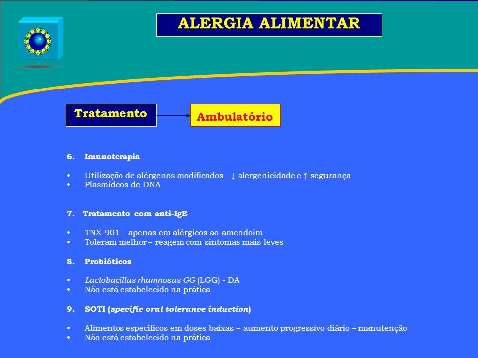 ALERGIA ALIMENTAR Tratamento Ambulatório Imunoterapia
