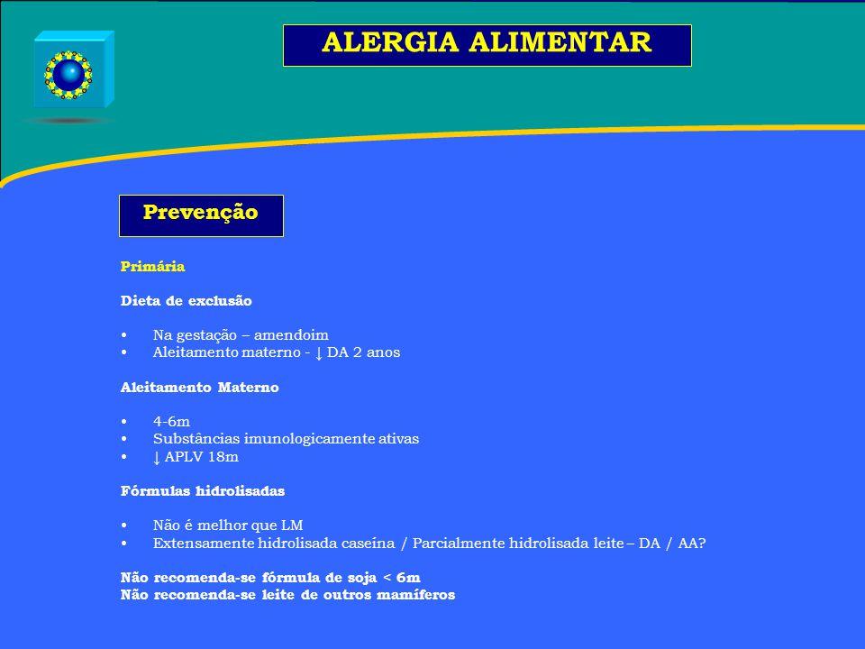 ALERGIA ALIMENTAR Prevenção Primária Dieta de exclusão