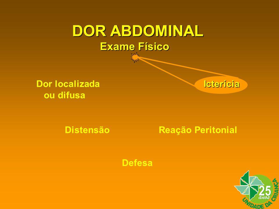 DOR ABDOMINAL Exame Físico Dor localizada Icterícia ou difusa