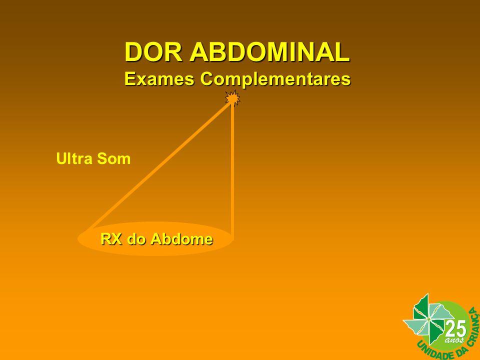 DOR ABDOMINAL Exames Complementares Ultra Som RX do Abdome