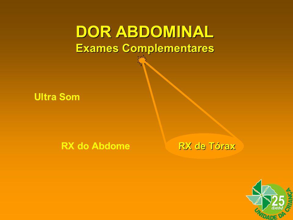 DOR ABDOMINAL Exames Complementares Ultra Som RX do Abdome RX de Tórax
