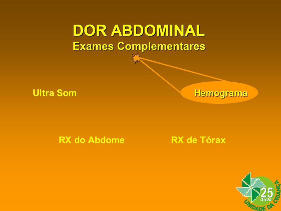 DOR ABDOMINAL Exames Complementares Ultra Som Hemograma