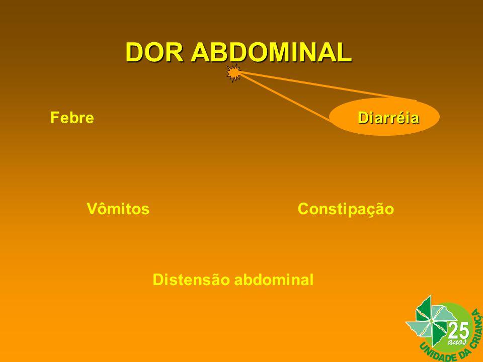 DOR ABDOMINAL Febre Diarréia Vômitos Constipação Distensão abdominal