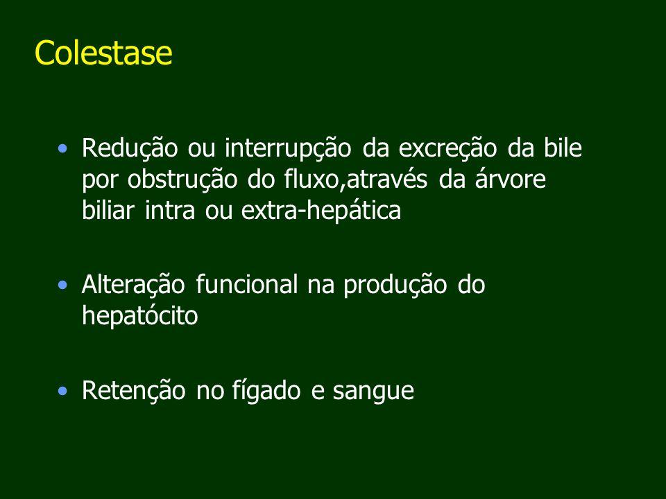 Colestase Redução ou interrupção da excreção da bile por obstrução do fluxo,através da árvore biliar intra ou extra-hepática.