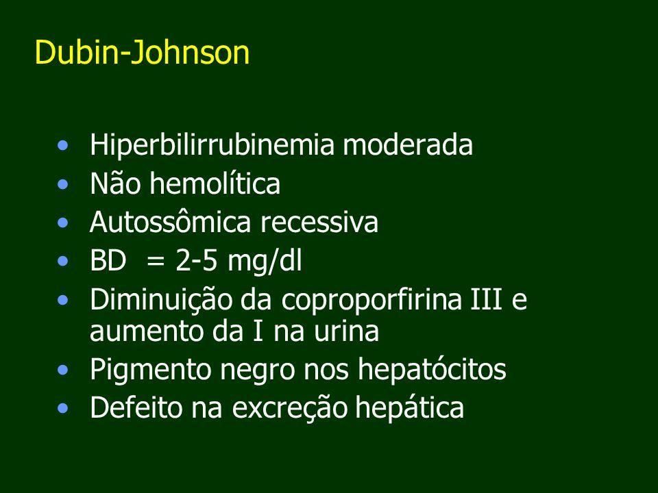 Dubin-Johnson Hiperbilirrubinemia moderada Não hemolítica