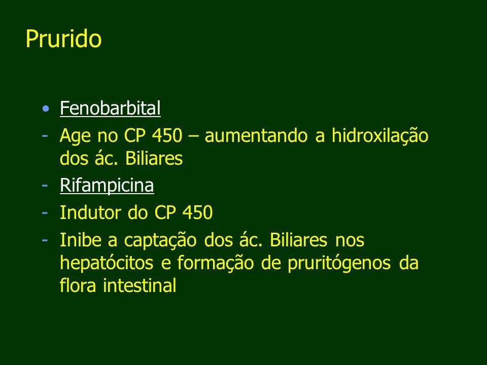 Prurido Fenobarbital. Age no CP 450 – aumentando a hidroxilação dos ác. Biliares. Rifampicina. Indutor do CP 450.