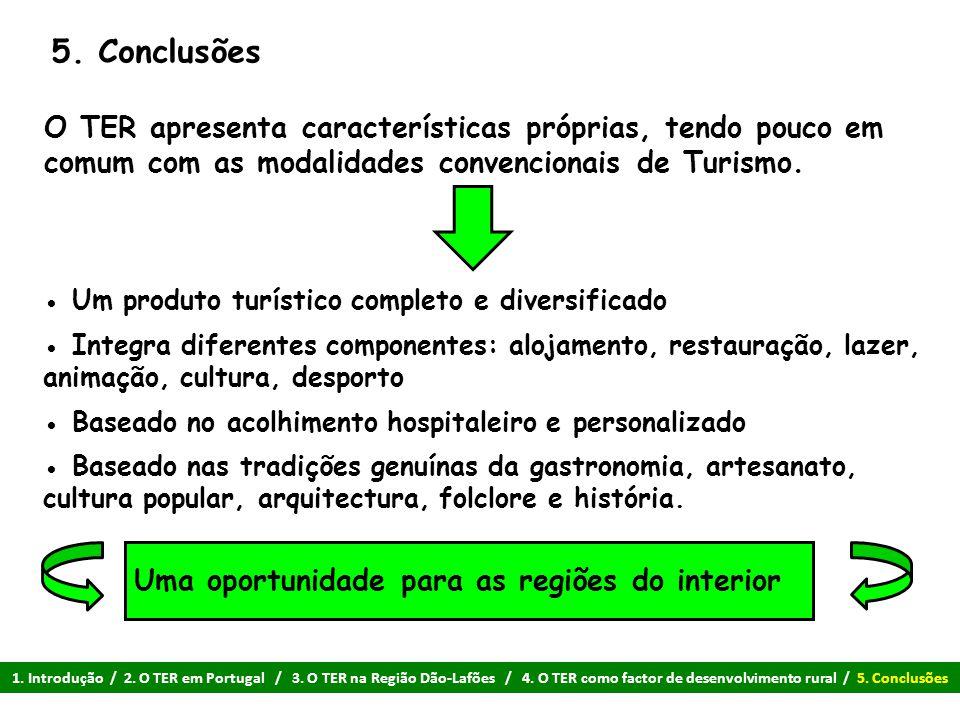 5. Conclusões O TER apresenta características próprias, tendo pouco em comum com as modalidades convencionais de Turismo.