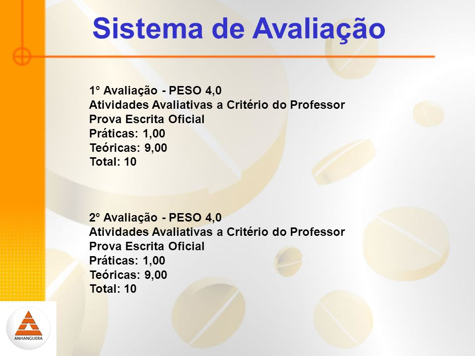 Sistema de Avaliação 1° Avaliação - PESO 4,0