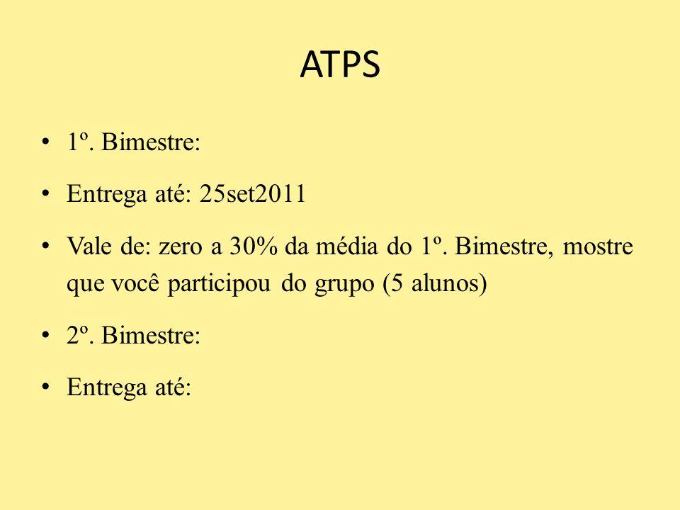 ATPS 1º. Bimestre: Entrega até: 25set2011