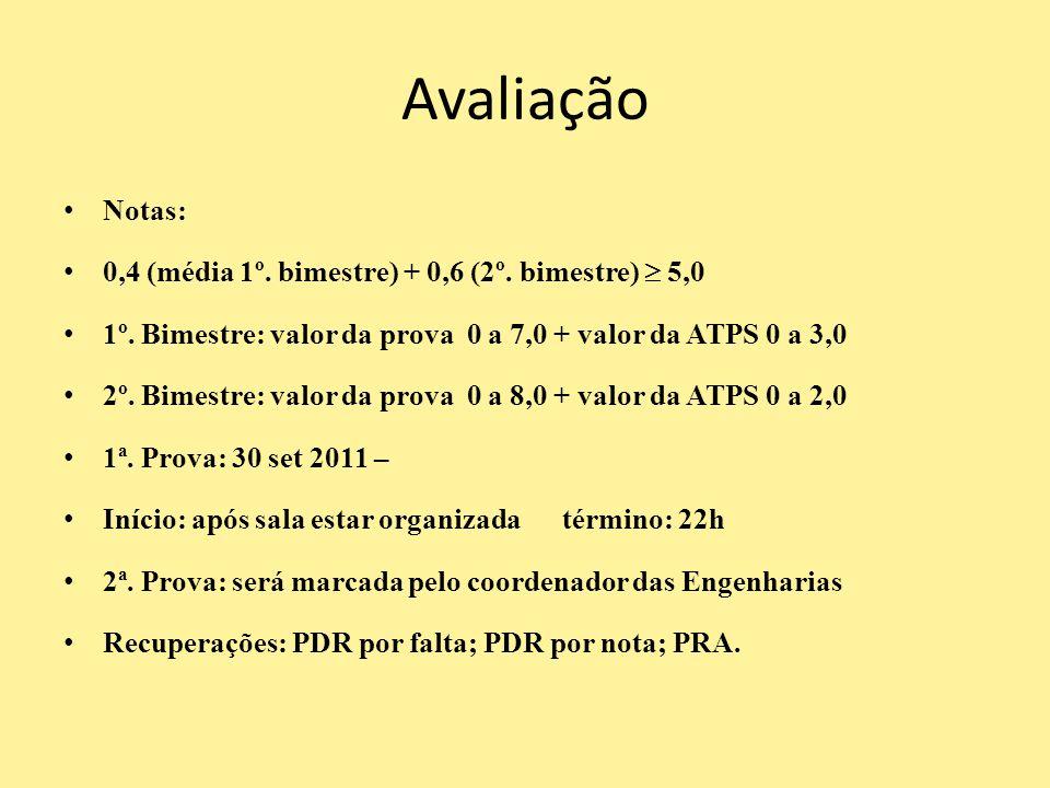 Avaliação Notas: 0,4 (média 1º. bimestre) + 0,6 (2º. bimestre)  5,0